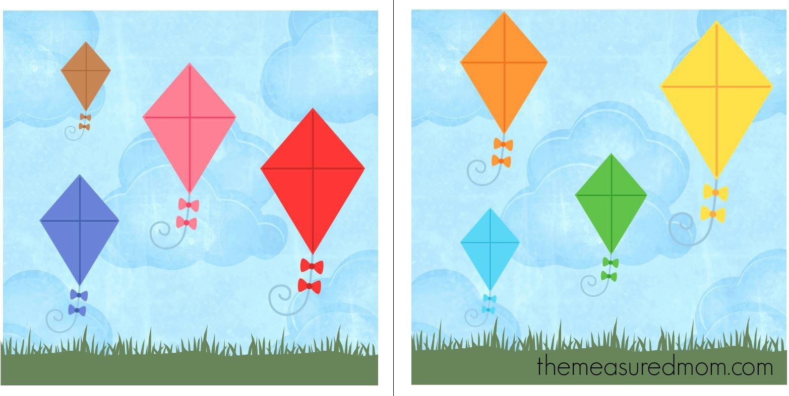 Free File Folder Game For Preschoolers: Kites! - The Measured Mom - Free Printable Preschool Folder Games