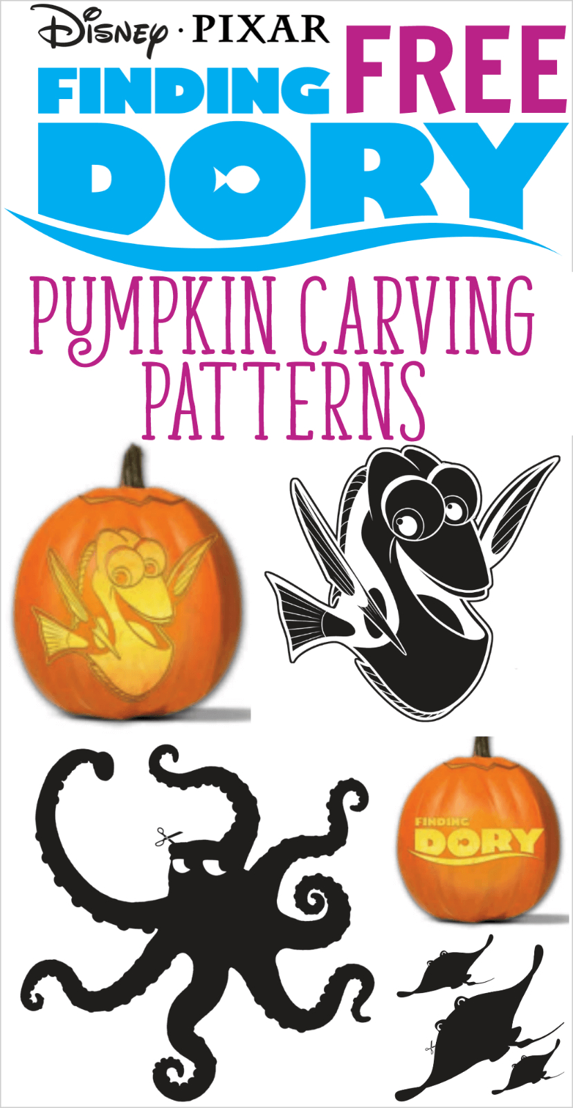 Free Finding Dory Pumpkin Carving Patterns To Print!   All Things - Free Pumpkin Carving Patterns Disney Printable