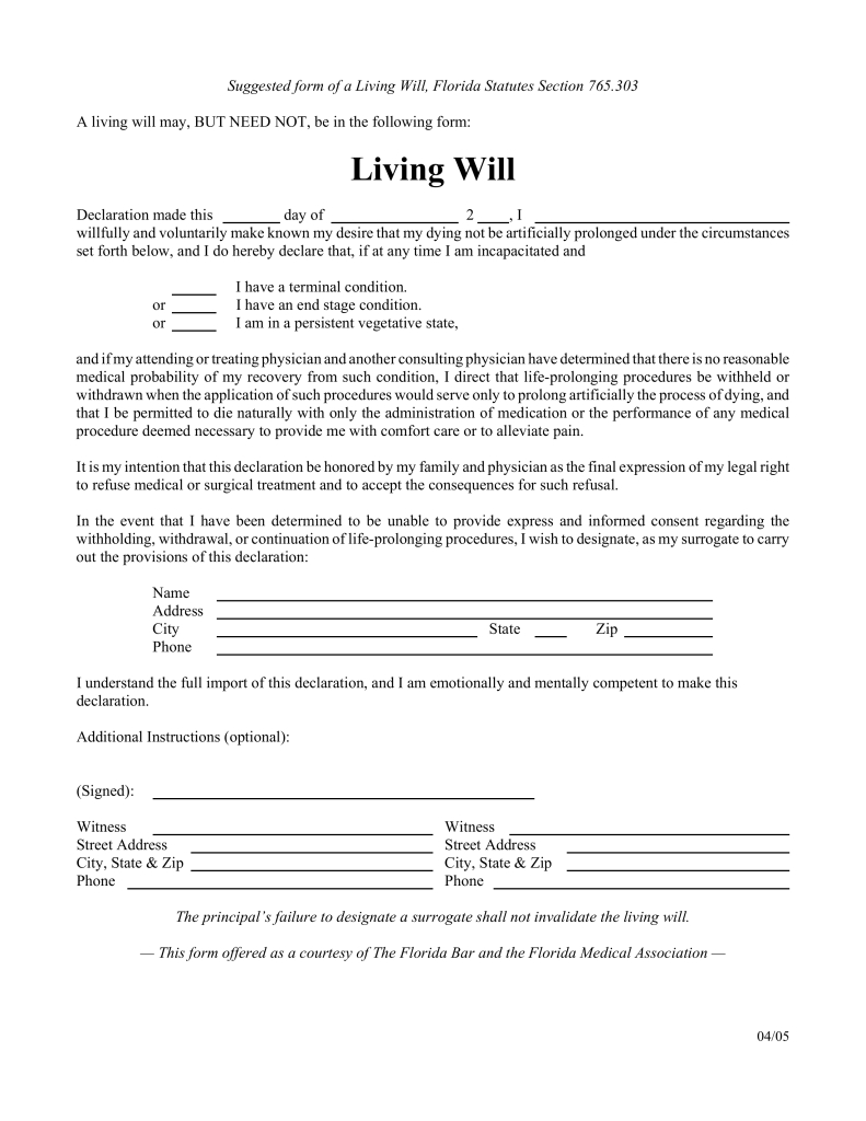 Free Florida Living Will Form - Pdf | Eforms – Free Fillable Forms - Free Printable Florida Will