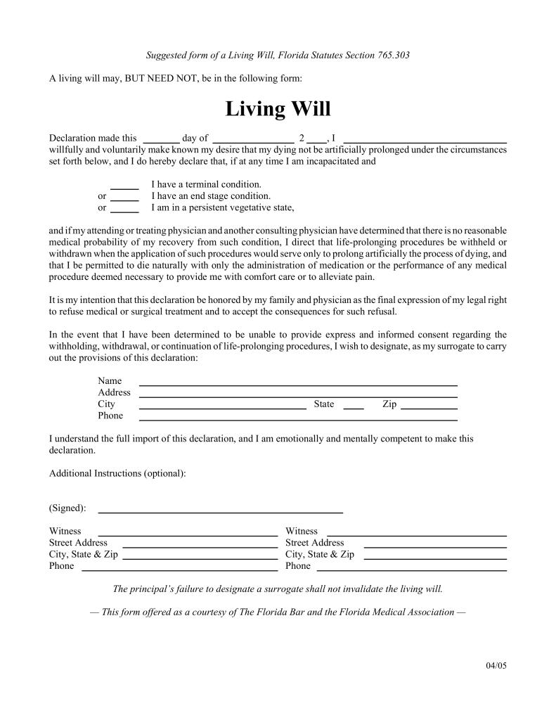 Free Florida Living Will Form - Pdf   Eforms – Free Fillable Forms - Free Printable Living Will