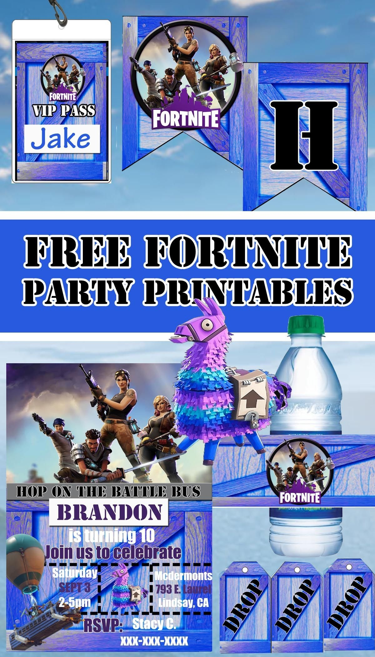 Free Fortnite Birthday Party Printable Files | Banner | Invitation - Fortnite Free Printables