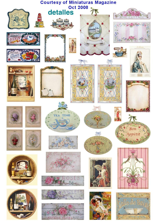 "Free Free Free Mini ""printies"" From Miniature Magazine In Spanish - Free Dollhouse Printables"