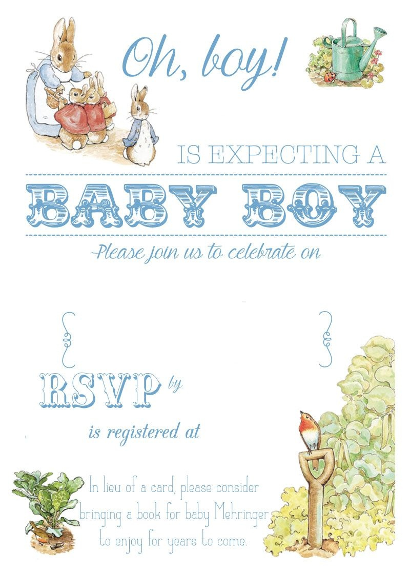 Free Free Printable Peter Rabbit Baby Shower Invitation | Free Baby - Free Printable Book Themed Baby Shower Invitations