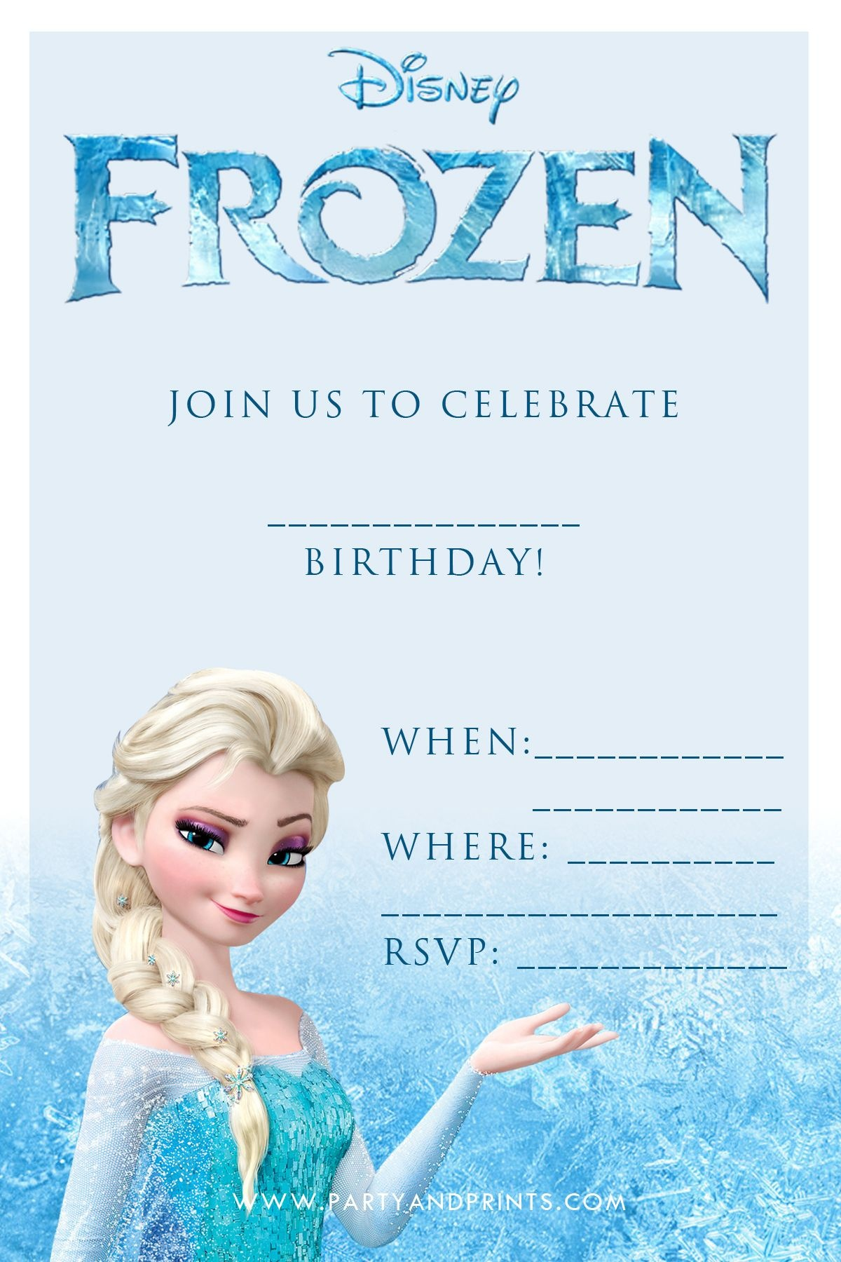 Free Frozen Invitation | Birthday Ideas | Frozen Birthday - Free Printable Frozen Birthday Cards