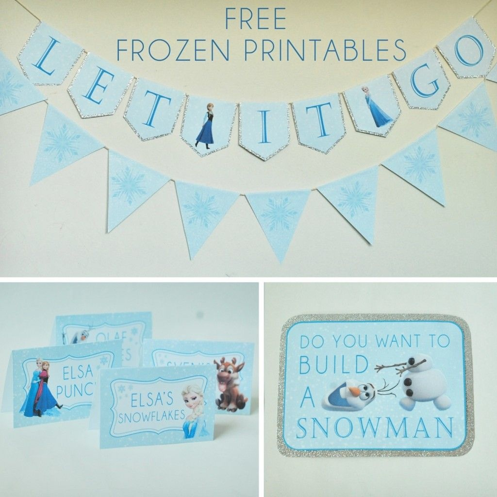 Free Frozen Party Printables Set Includes: Let It Go Banner, Happy - Frozen Birthday Banner Printable Free