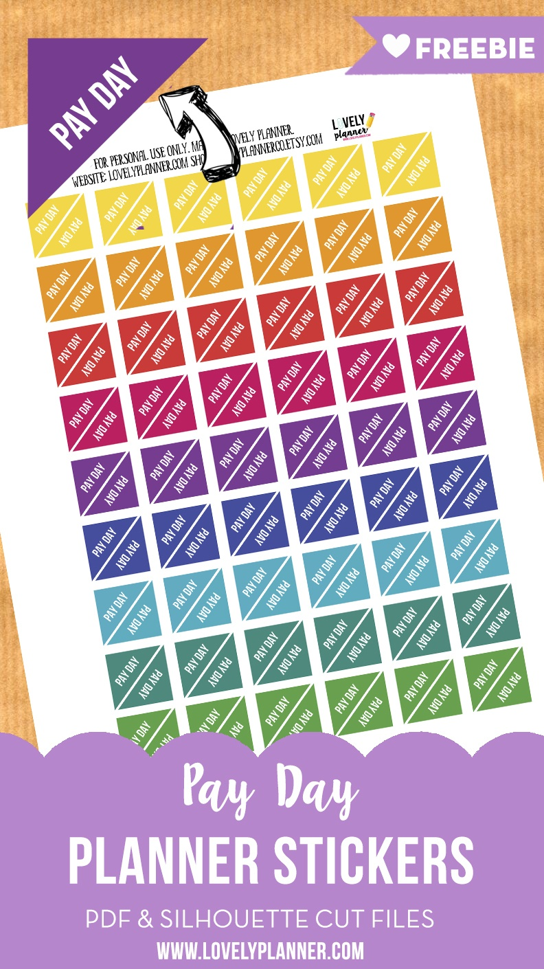 Free Functional Planner Stickers : Pay Day Stickers - Lovely Planner - Free Printable Payday Stickers