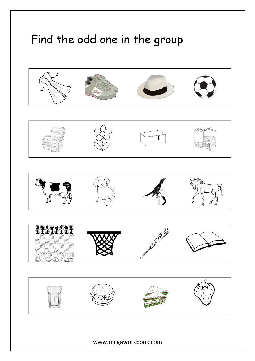 Free General Aptitude Worksheets - Odd One Out - Megaworkbook - Free Printable Worksheets For Kids Science