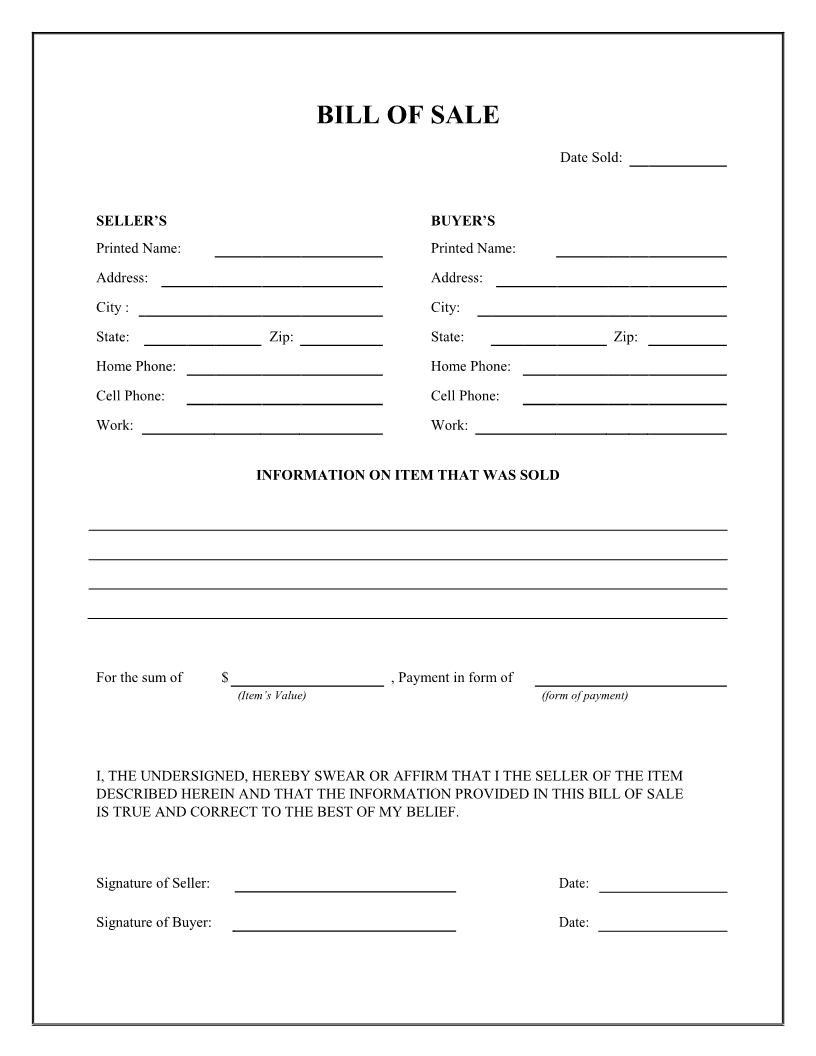 Free General Bill Of Sale Form - Download Pdf | Word - Free Printable Bill Of Sell