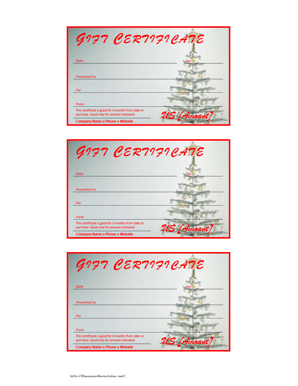 Free Gift Certificate Archives   Freewordtemplates - Free Printable Xmas Gift Certificates