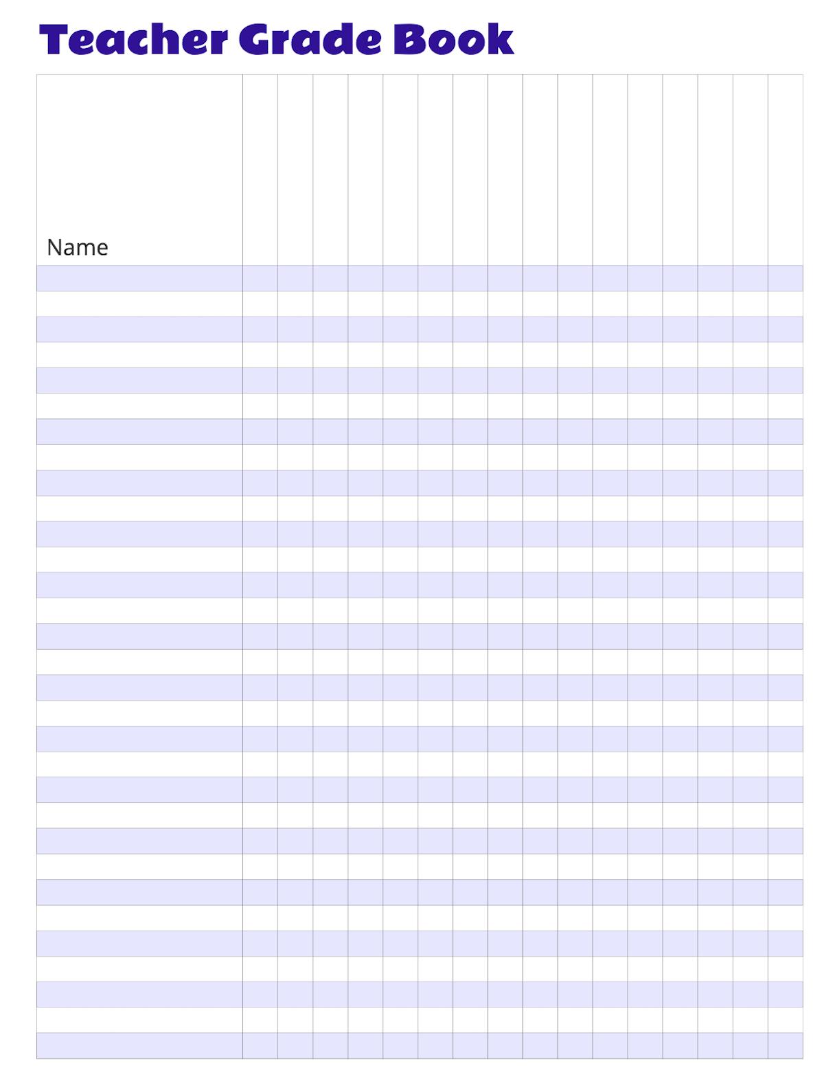 Free Grade Book - Tutlin.psstech.co - Free Printable Gradebook