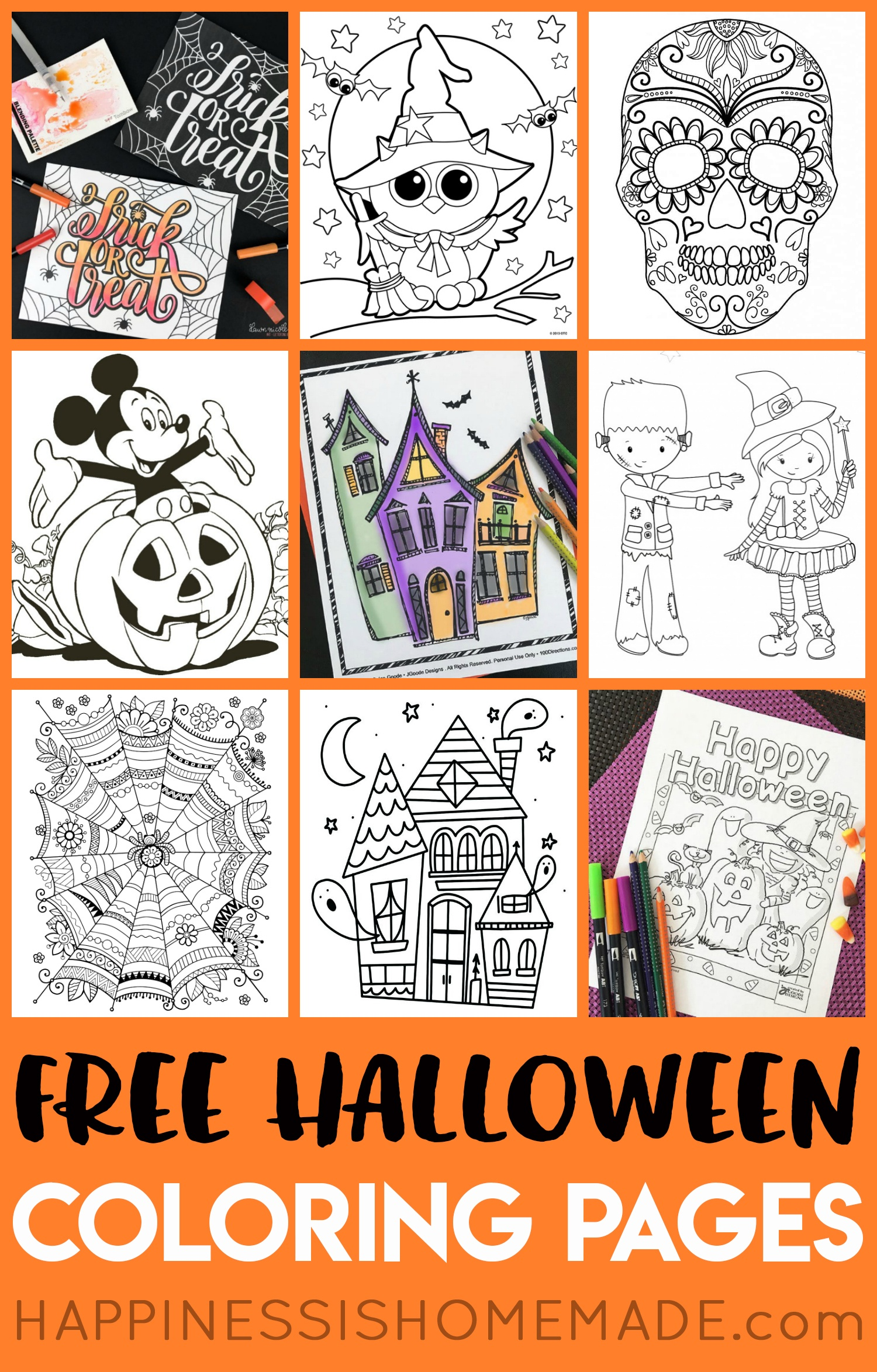 Free Halloween Coloring Pages For Adults & Kids - Happiness Is Homemade - Free Halloween Printables