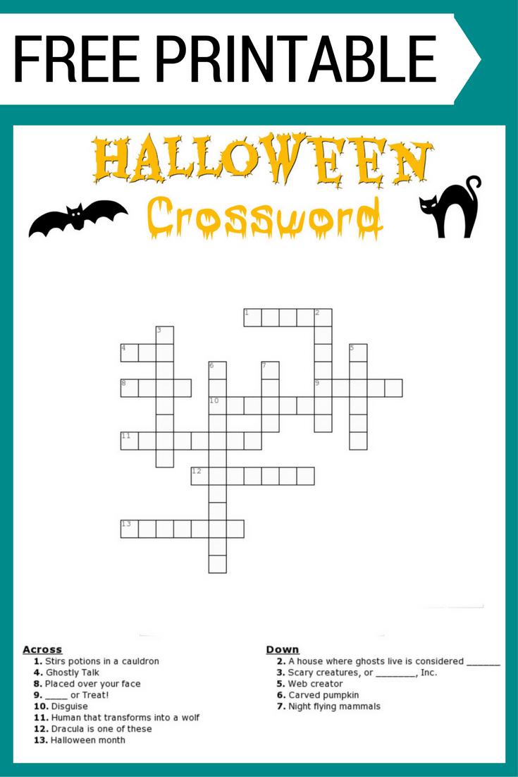 Free Halloween Crossword Puzzle Printable Worksheet Available With - Halloween Crossword Printable Free