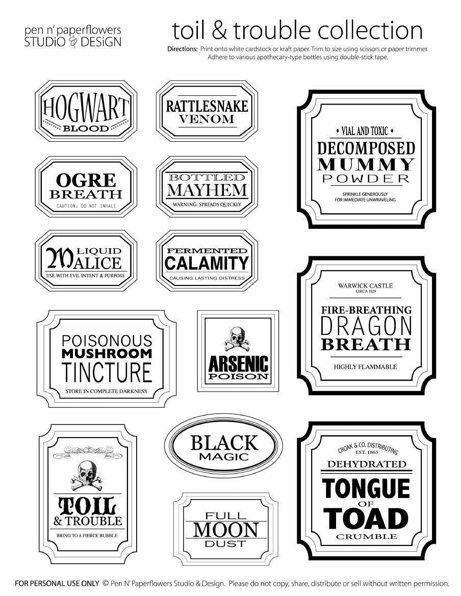 Free Halloween Printable Apothecary Jar Labels | Toil & Trouble | En - Free Printable Apothecary Jar Labels