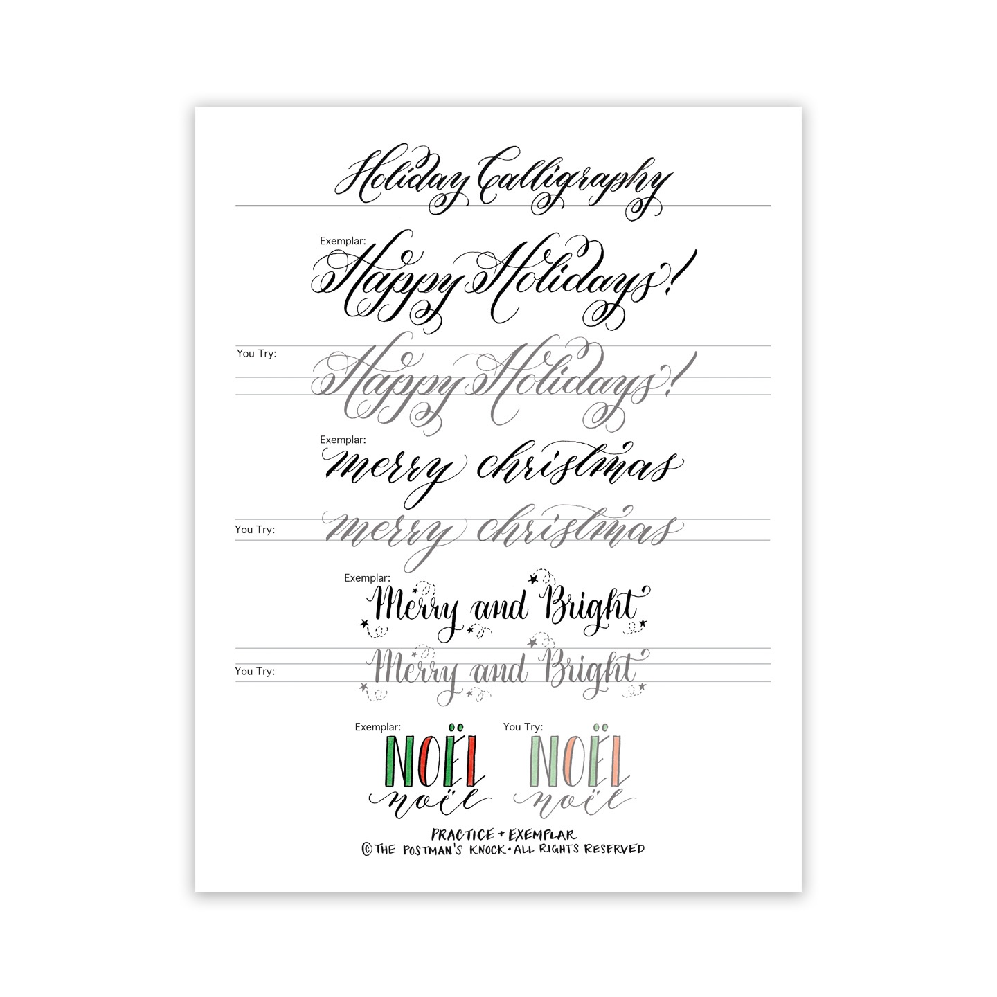 Free Holiday Calligraphy Exemplar – The Postman's Knock - Free Calligraphy Printables