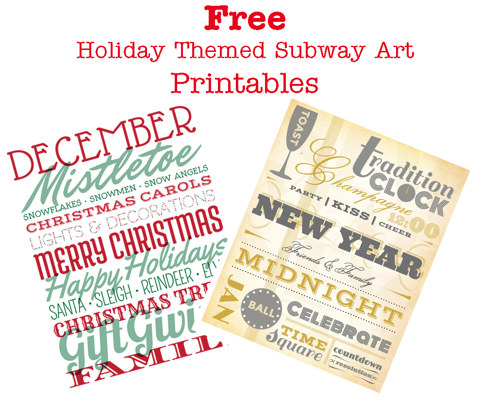 Free Holiday Subway Art Printables - Sew Woodsy - Free Holiday Printables