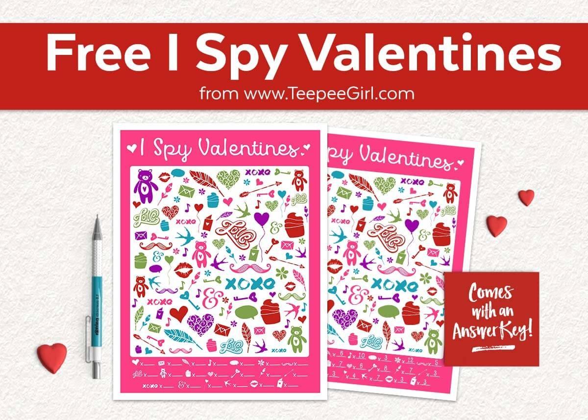 Free I Spy Valentines Printable Game - Teepee Girl - Free Printable Valentine Game
