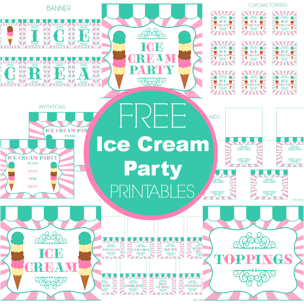 Free Ice Cream Party Printables From Printabelle Perfect For - Free Birthday Printables