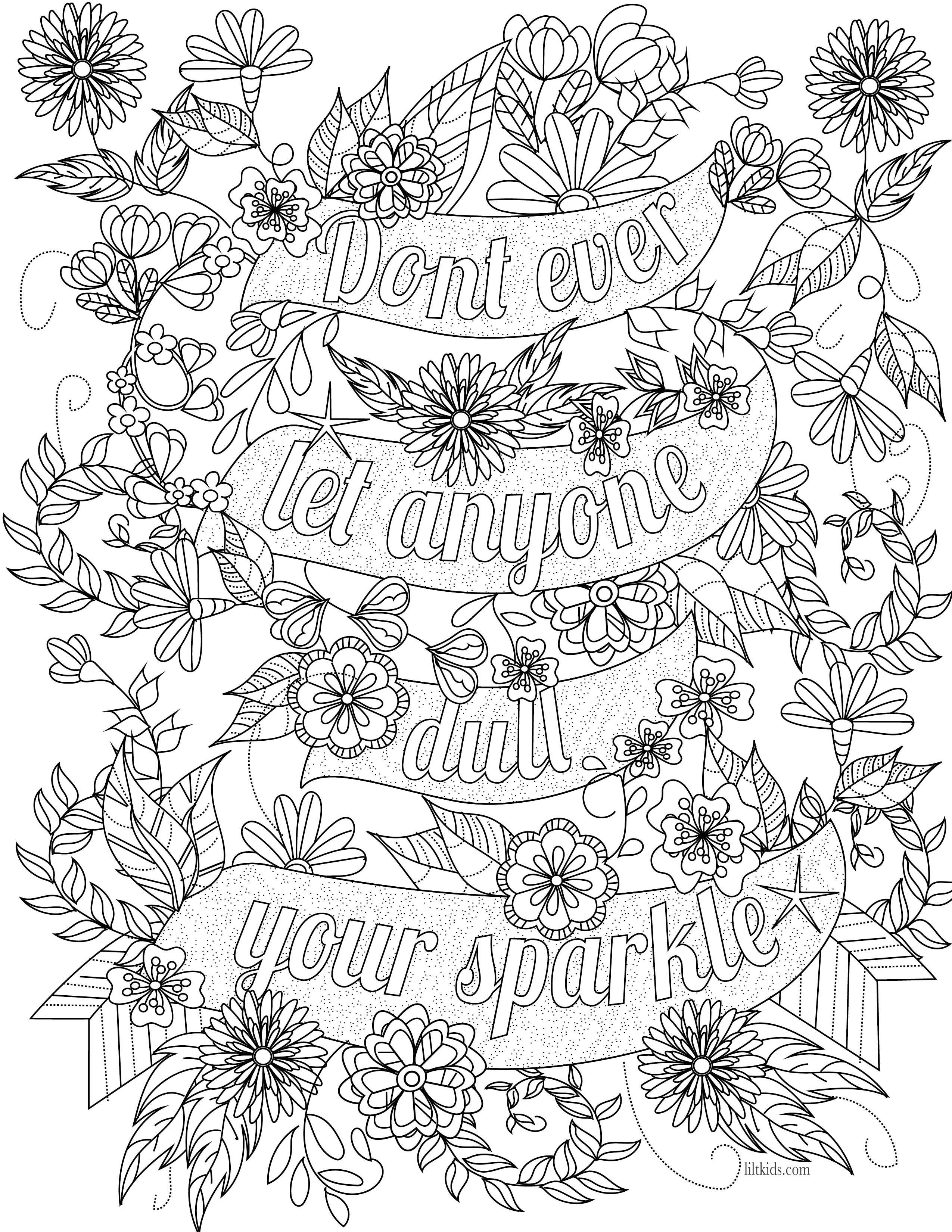 Free Inspirational Quote Adult Coloring Book Image From Liltkids - Free Printable Quote Coloring Pages For Adults
