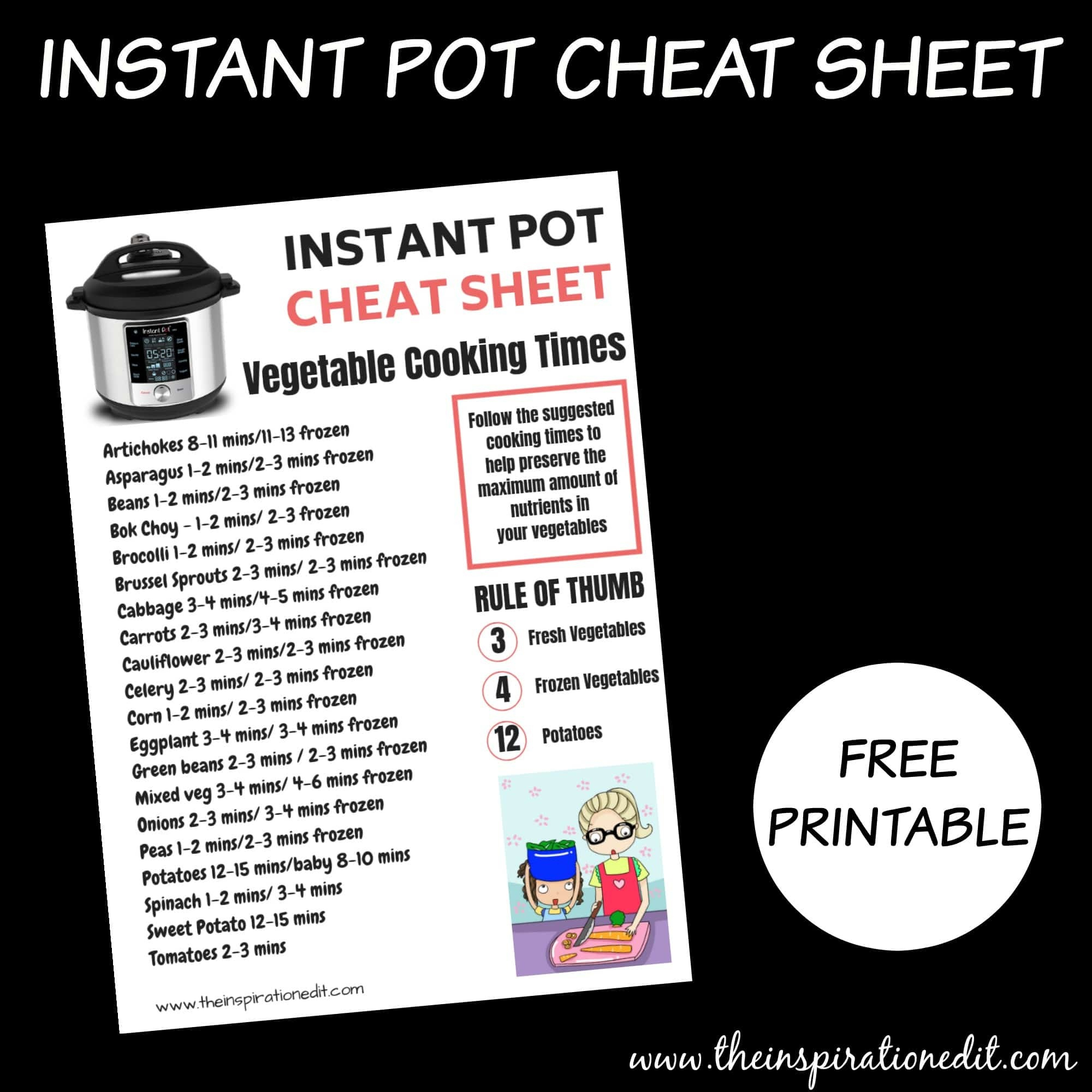 Free Instant Pot Cheat Sheet For Vegetables · The Inspiration Edit - Free Printable Instant Pot Cheat Sheet