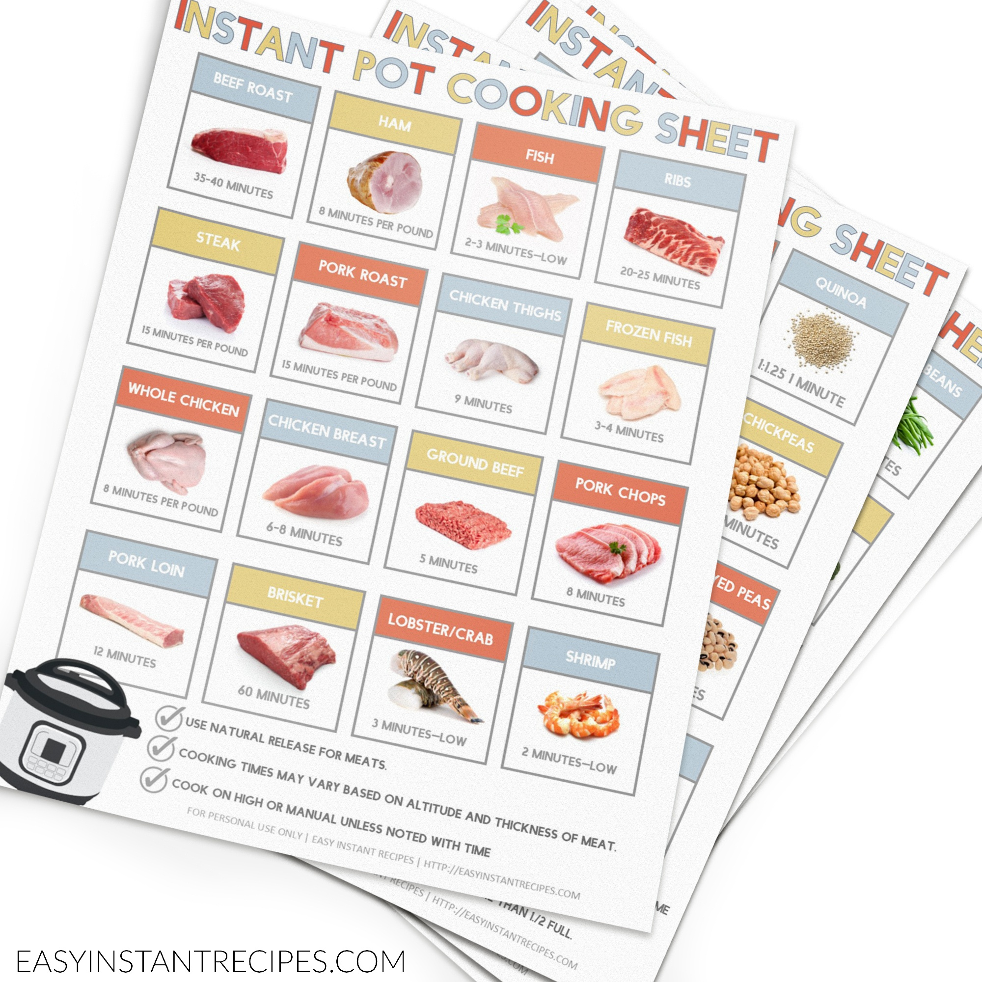 Free Instant Pot Cooking Times Cheat Sheet Printable - Free Printable Instant Pot Cheat Sheet