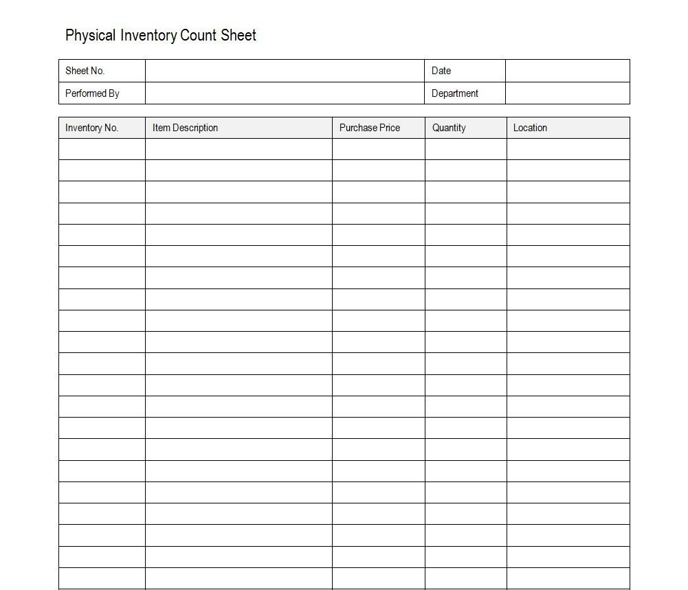 Free Inventory Count Sheet | Accounting | Timesheet Template - Free Printable Inventory Sheets Business