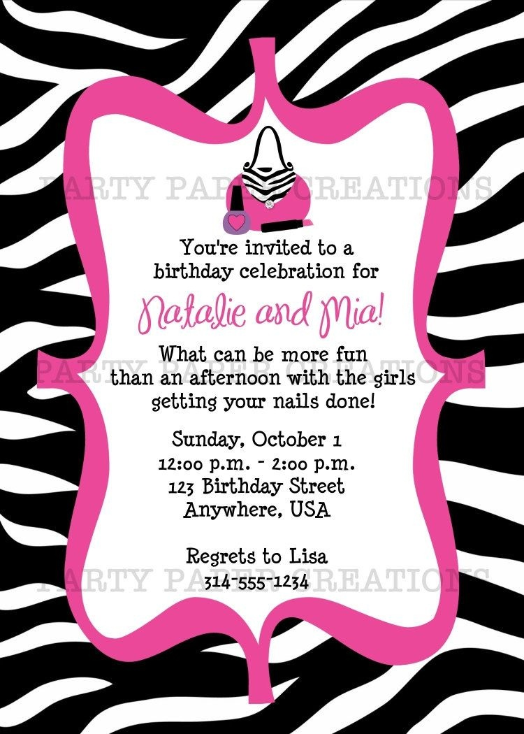 Free Invitations To Print |  Birthday Invitation - Glamour Girl - Zebra Print Party Invitations Printable Free