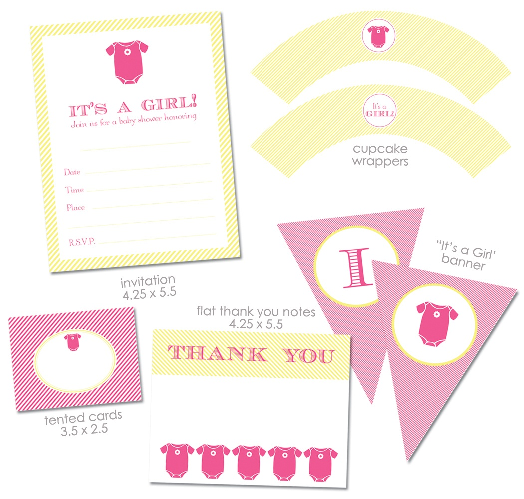 """Free """"it's A Girl"""" Baby Shower Printables From Green Apple Paperie - Baby Girl Banner Free Printable"""