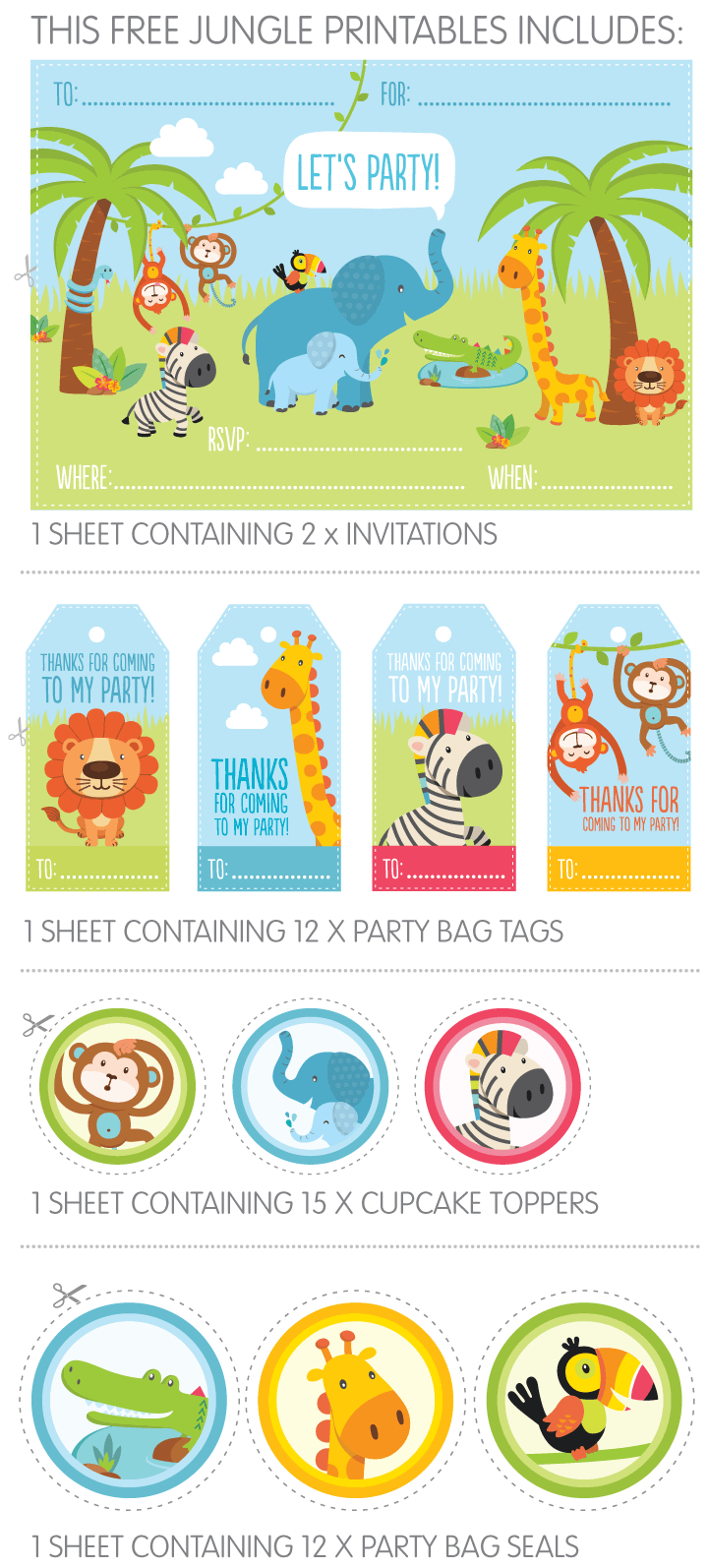 Free Jungle Party Invitation Printables | Give-Aways | Jungle Party - Jungle Theme Birthday Invitations Free Printable