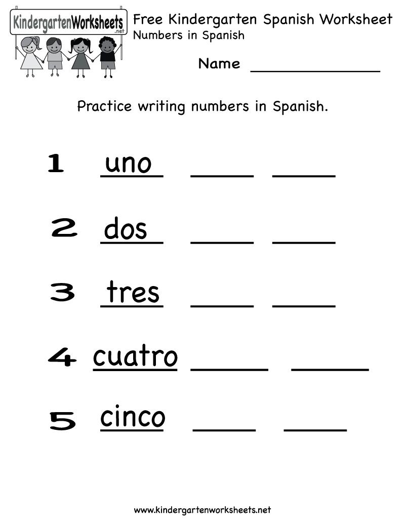 Free Kindergarten Spanish Worksheet Printables. Use The Spanish - Free Printable Spanish Numbers