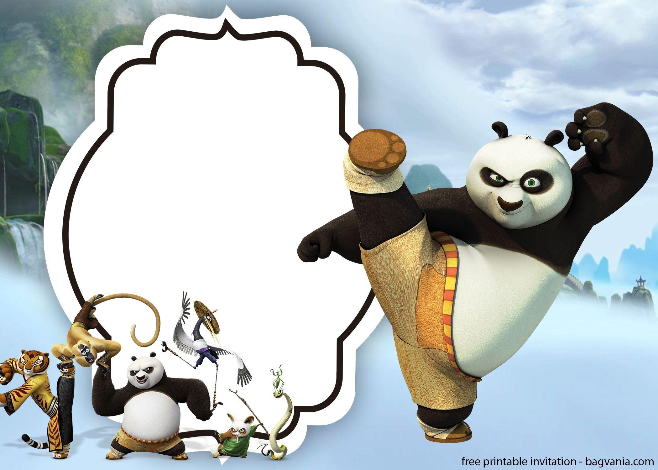 Free Kungfu Panda Invitations Templates | Bagvania Invitation - Panda Bear Invitations Free Printable