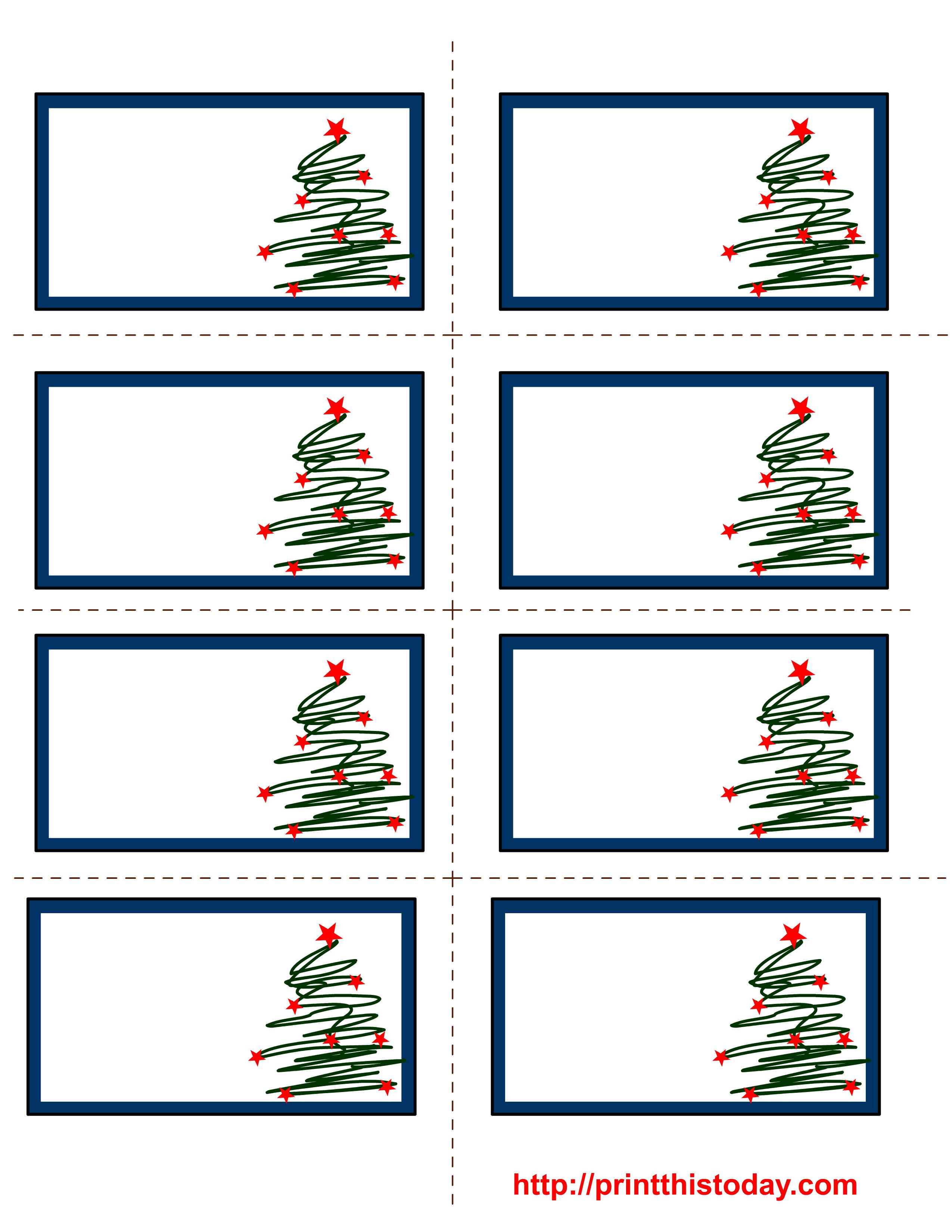 Free Labels Printable   Free Printable Christmas Labels With Trees - Free Printable Christmas Tags Templates