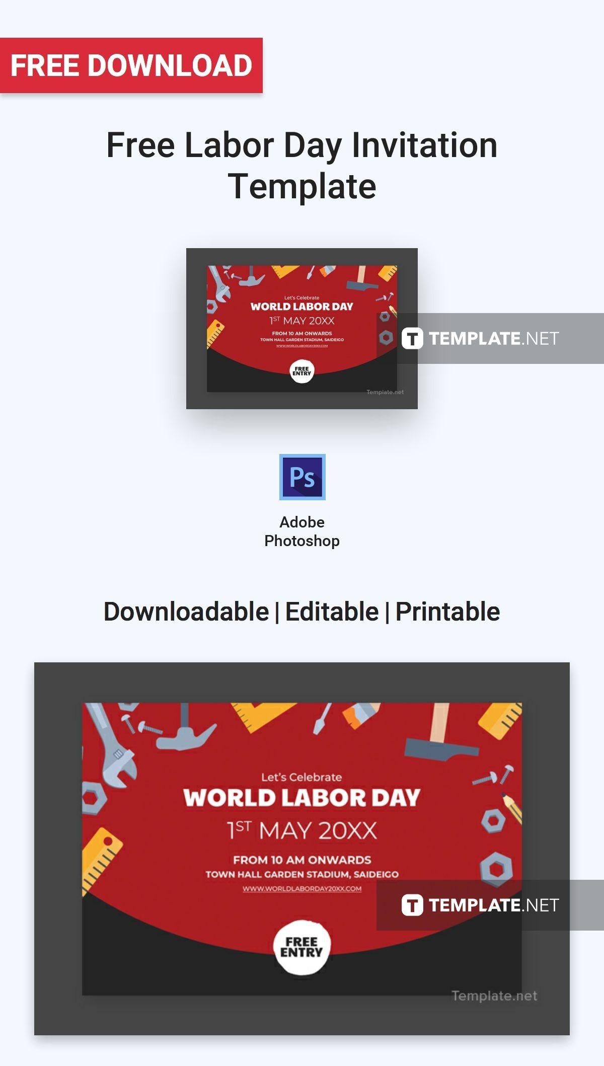 Free Labor Day Invitation   Invitation Templates & Designs 2019 - Free Printable Labor Day Invitations