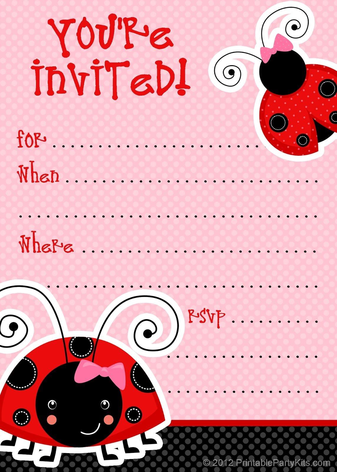 Free Ladybug Party Invitations From Printablepartyinvitations - Free Printable Ladybug Baby Shower Invitations Templates
