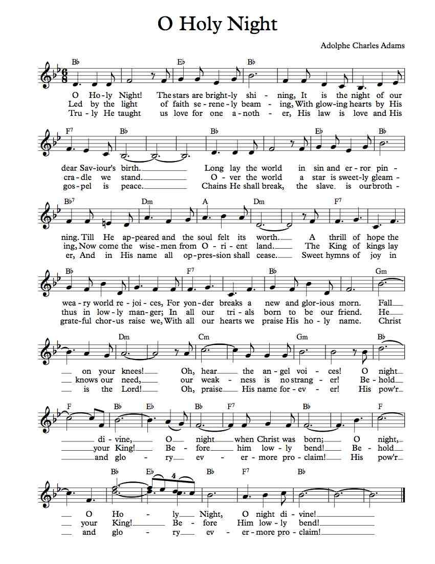 Free Lead Sheet – O Holy Night | Free Sheet Music | Clarinet Sheet - Free Printable Sheet Music Lyrics