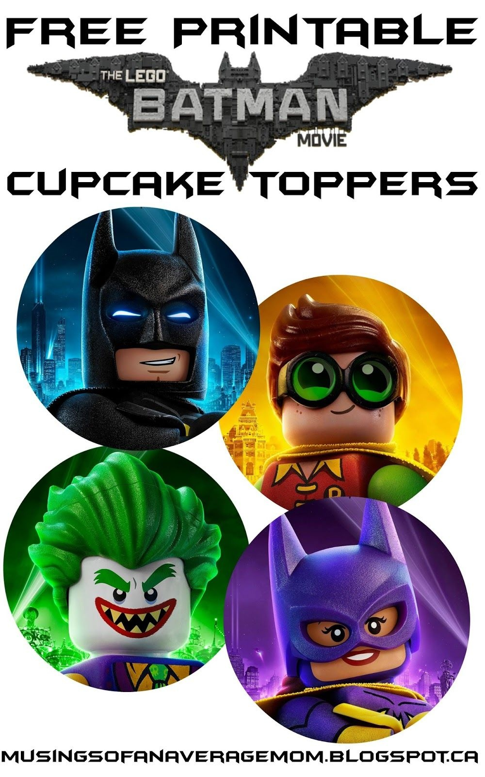 Free Lego Batman Cupcake Toppers | Daniel Bday Theme Ideas | Lego - Free Printable Lego Batman