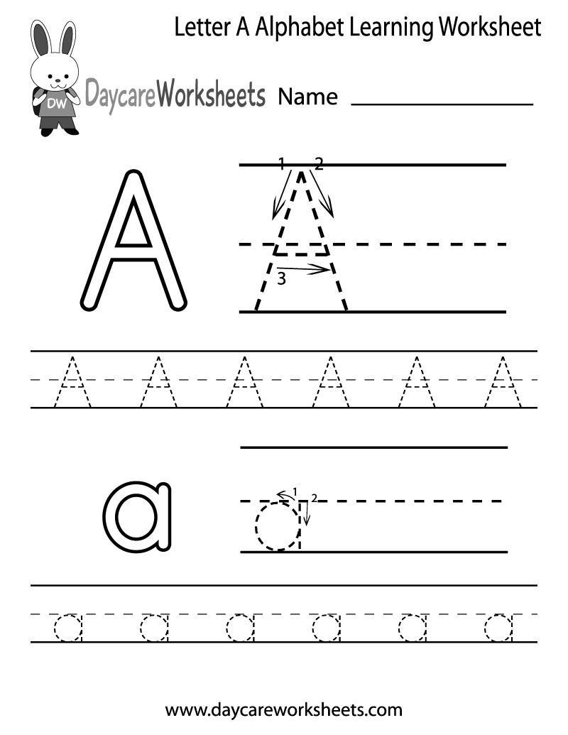 Free Letter A Alphabet Learning Worksheet For Preschool Plus Lots Of - Free Letter Printables For Preschool