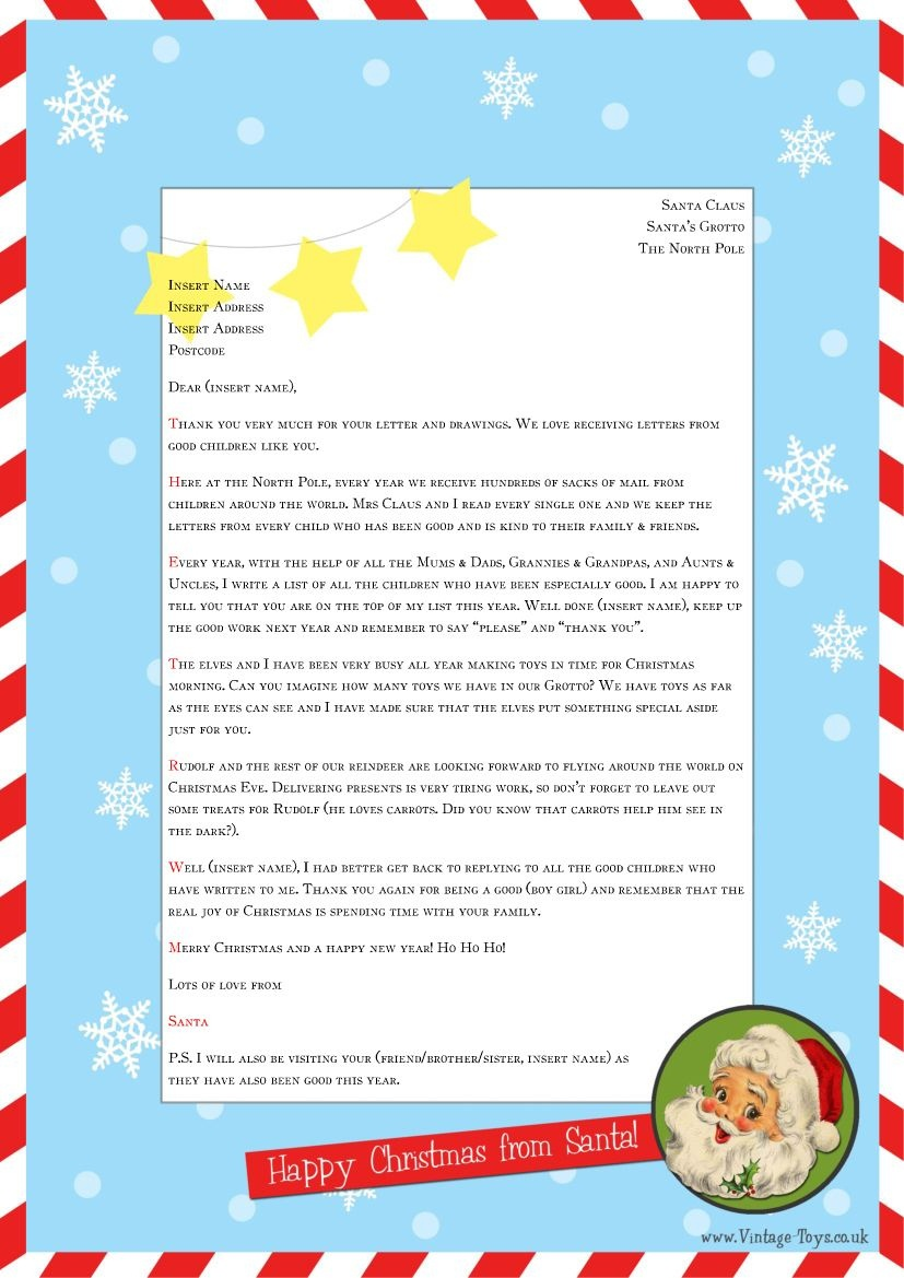 """Free """"Letter From Santa"""" Template For You To Download And Edit - Free Printable Santa Reply Letter Template"""