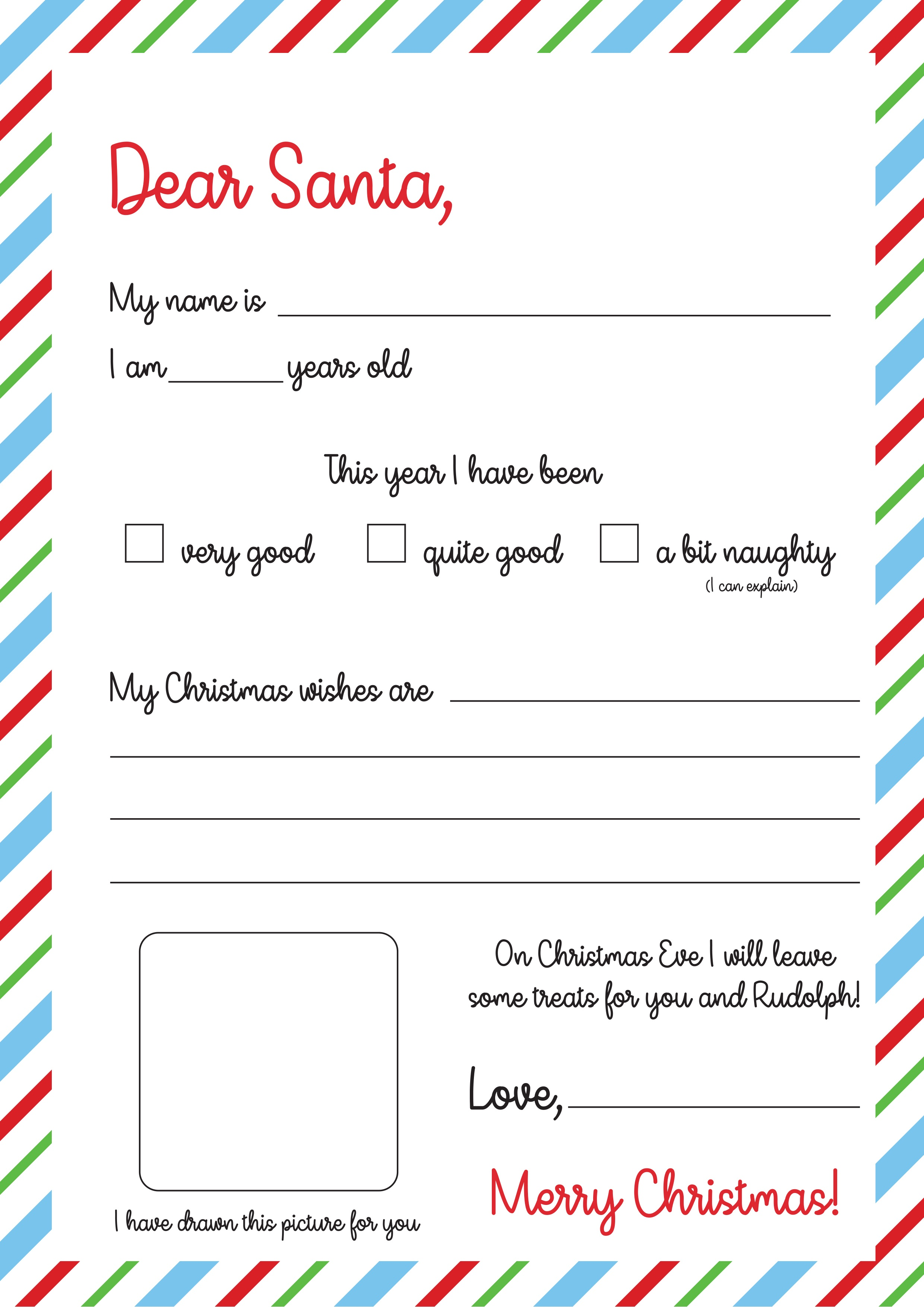 Free Letter To Santa Template Print   The Craft Blog - Letter To Santa Template Free Printable