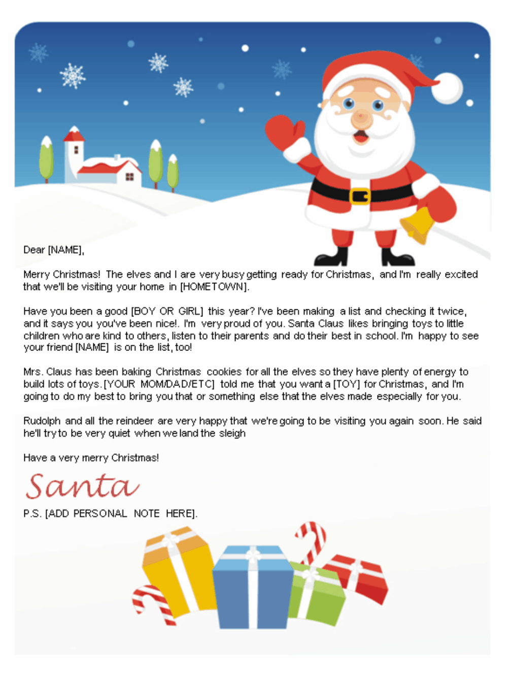 Free Letters From Santa | Santa Letters To Print At Home - Gifts - Free Printable Letter From Santa Template