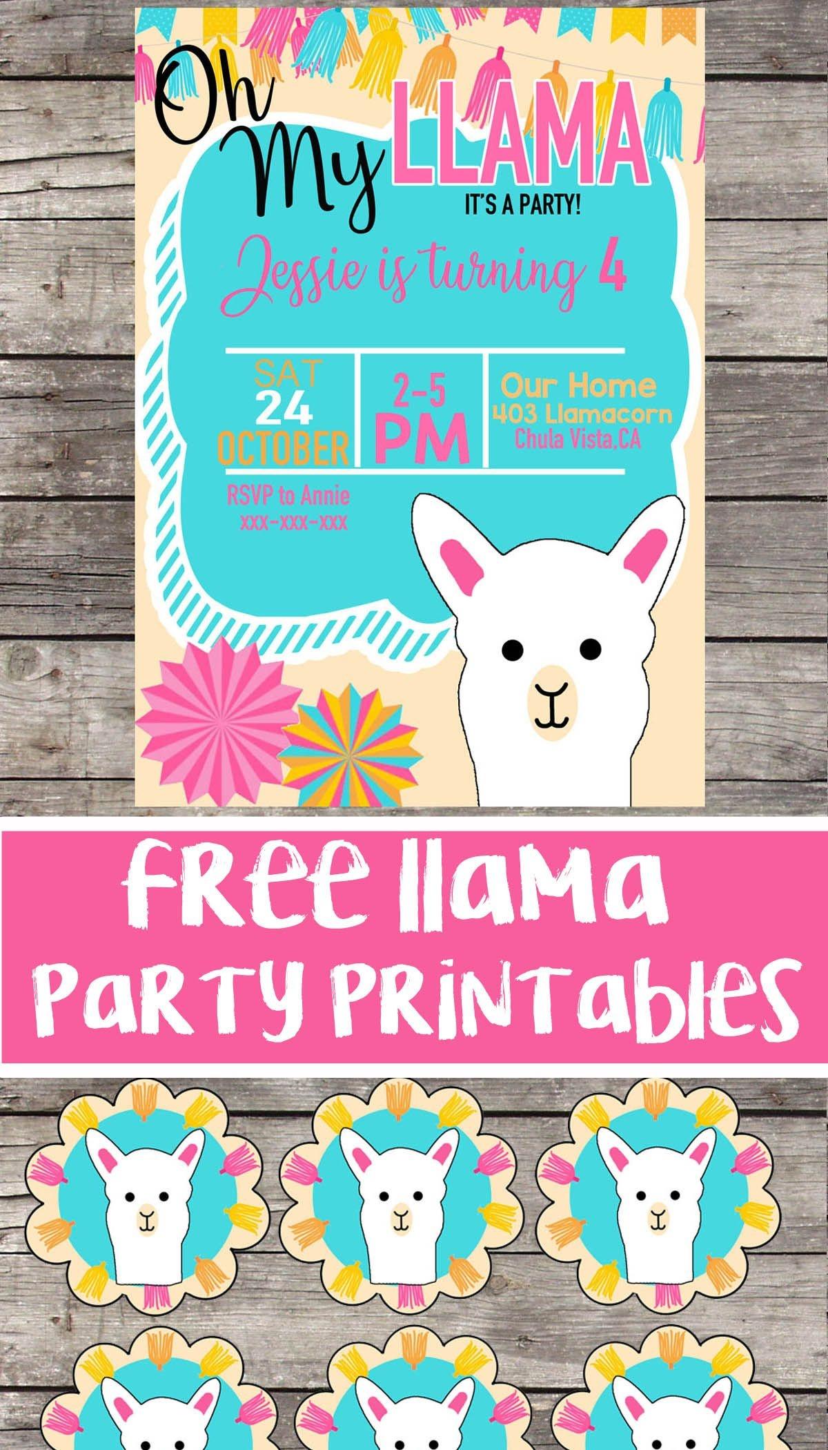 Free Llama Birthday Party Printable Files | Invitation | Cupcake - Free Printable Water Birthday Party Invitations