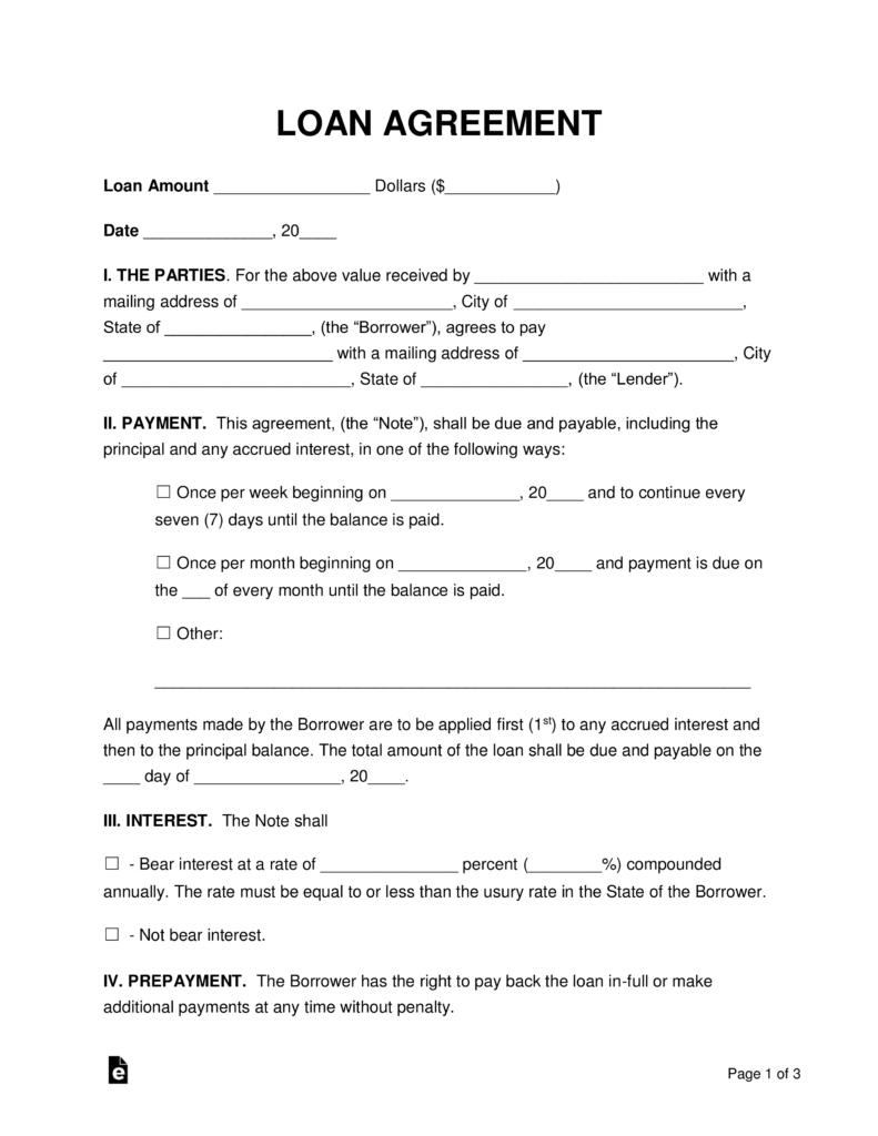 Free Loan Agreement Templates - Pdf | Word | Eforms – Free Fillable - Free Printable Personal Loan Forms