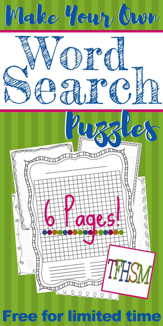 "Free ""make-Your-Own"" Printable Wordsearch Puzzles – The Frugal - Make Your Own Puzzle Free Printable"