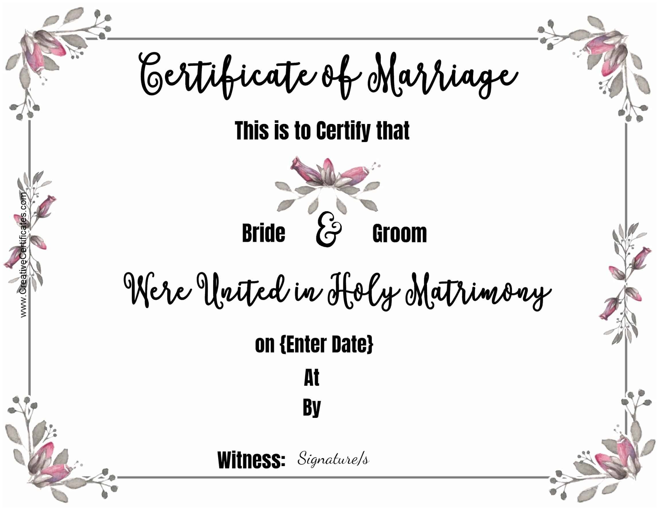 Free Marriage Certificate Template | Customize Online Then Print - Fake Marriage Certificate Printable Free