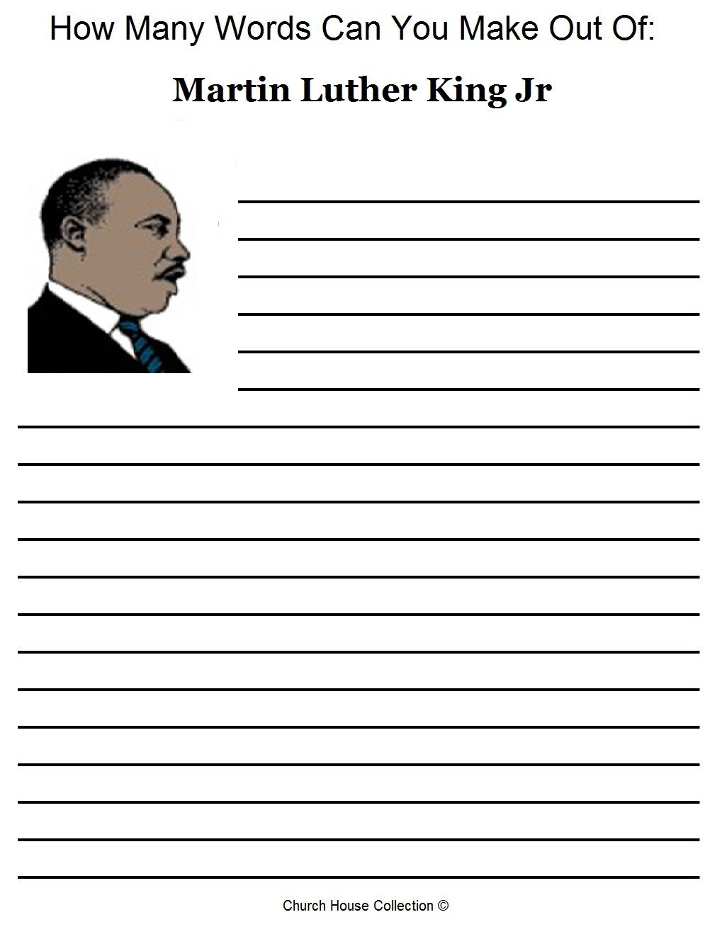Free Martin Luther King Jr Worksheets- How Many Words Can You Make - Free Printable Martin Luther King Jr Worksheets