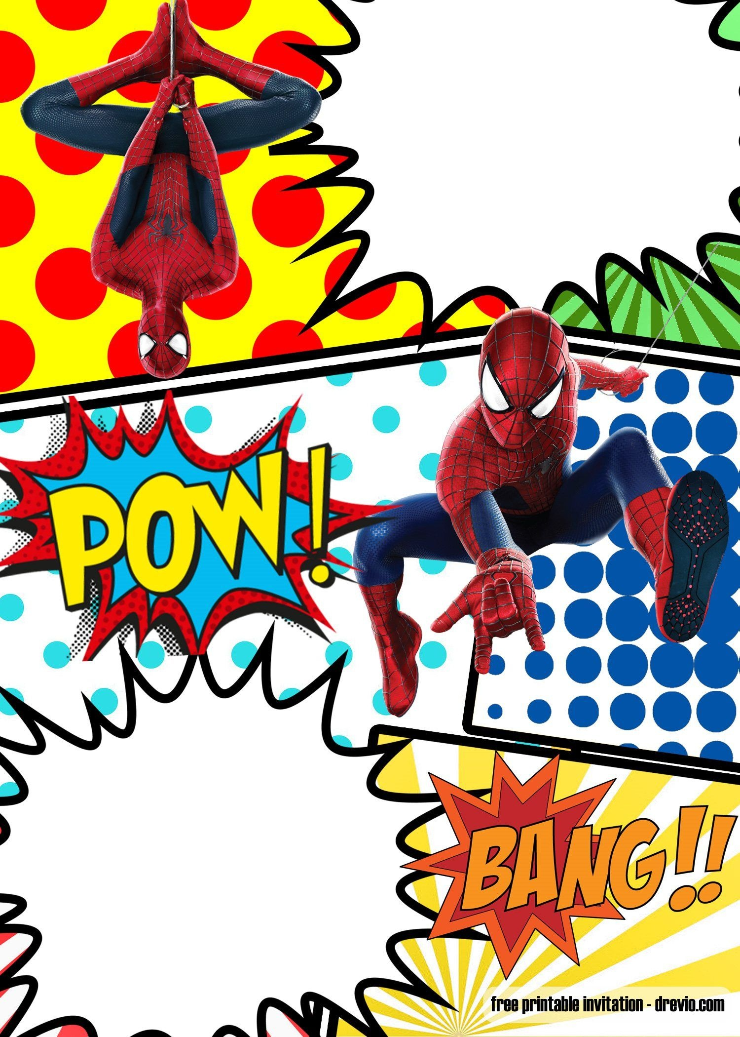 Free Marvel Spiderman Comic Style Invitation Template   Partying - Free Printable Superhero Birthday Invitation Templates