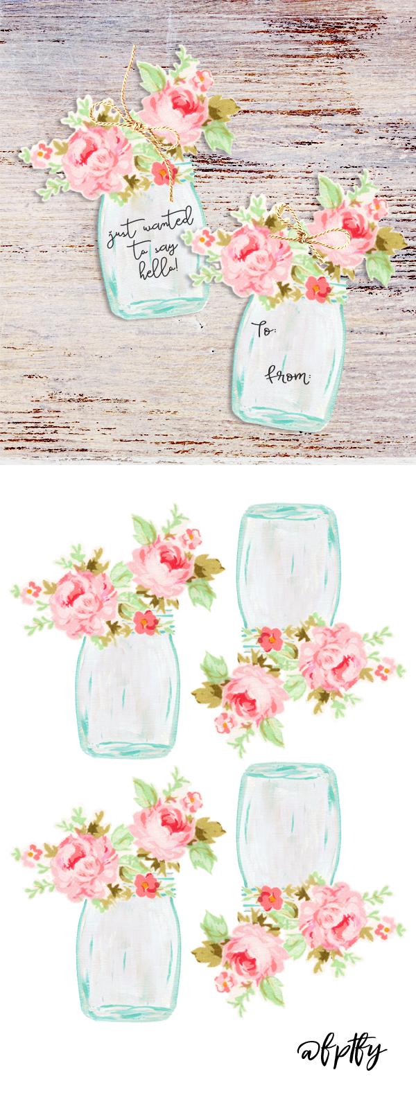 Free Mason Jar Floral Tags- Pretty | Cricut Templates | Contenus - Free Printable Floral Labels