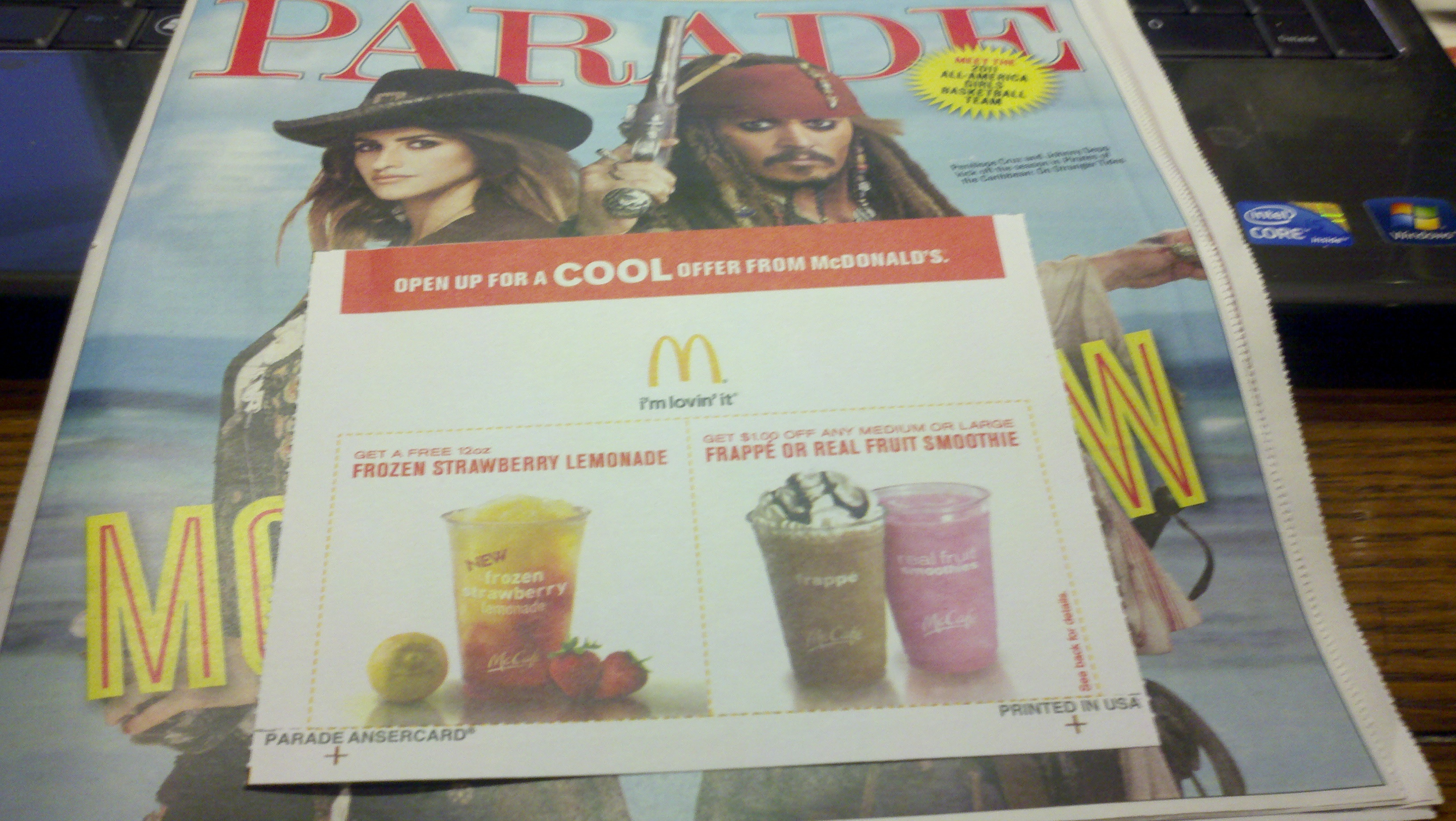 Free Mcdonald's Frozen Strawberry Lemonade Coupon In The Parade - Free Mcdonalds Smoothie Printable Coupon
