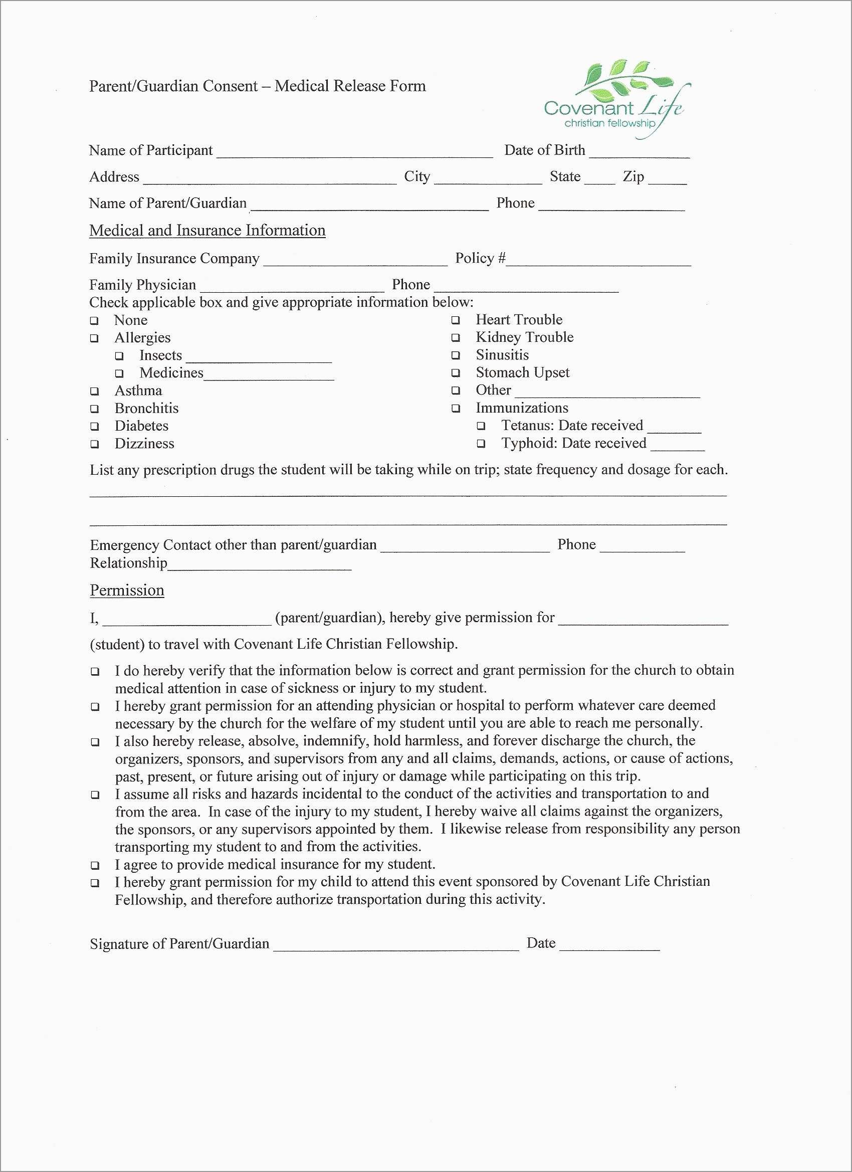 Free Medical Consent Form Template Elegant Medical Release Form - Free Printable Medical Release Form