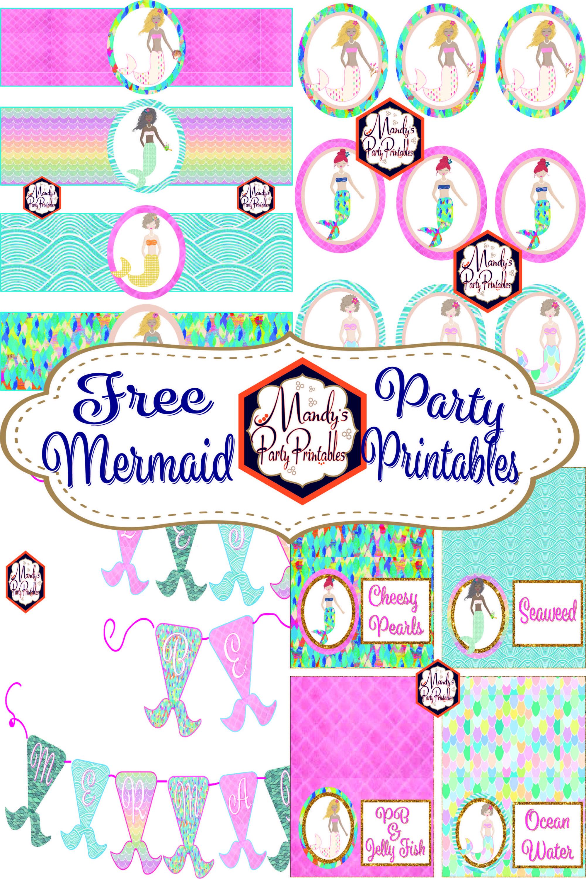 Free Mermaid Birthday Party Printables | Elle's Beach Party | Diy - Free Mermaid Party Printables