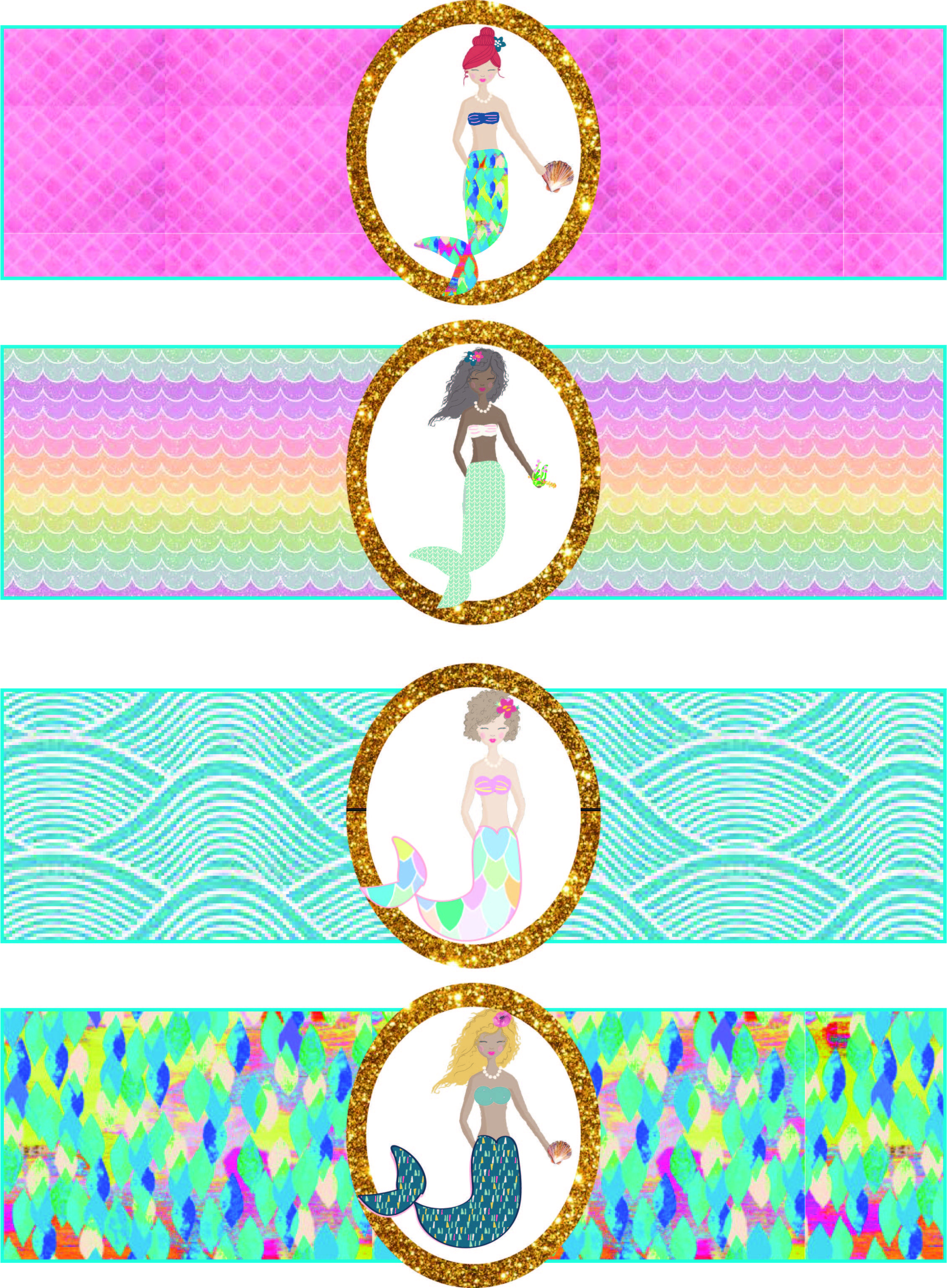 Free Mermaid Birthday Party Printables | Free Girls Party Printables - Free Printable Little Mermaid Water Bottle Labels